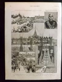Siam Thailand 1887 Print. Cremation of the Uncle of the King of Siam, Bangkok